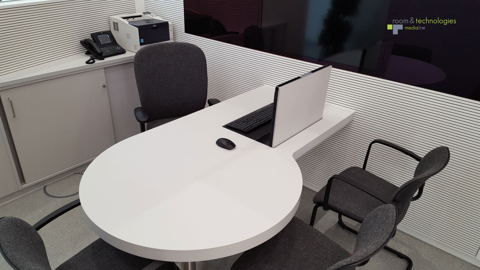 ELEMENT ONE pop-up monitor in desk